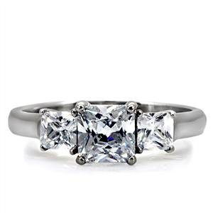 Stainless Steel Engagement Ring with Triple Stone Princess Cut CZ in a Prong Setting