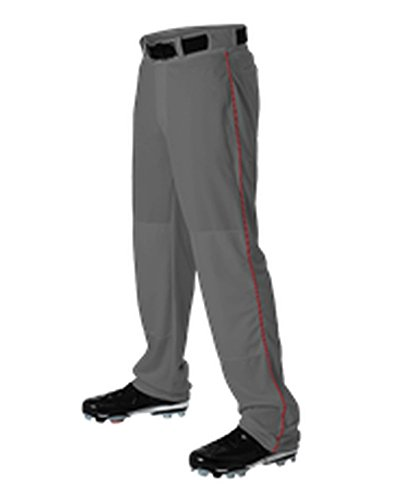 Alleson YOUTH BASEBALL PANT WITH BRAID CHARCOAL, SCARLET L 605WLBY (Scarlet Baseball Pants)