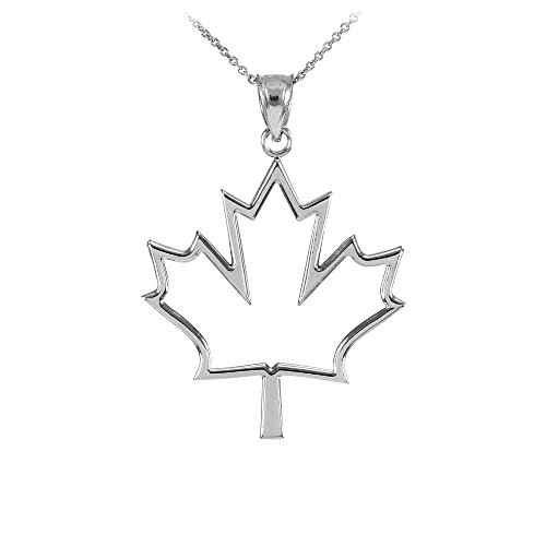925 Sterling Silver Open Design Maple Leaf Pendant Necklace, 18