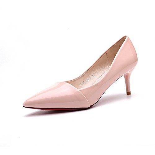Mariage Femmes Chaussures Bout Escarpin Pointu Pure Jointif Cuir Talon Couleur Dames Respirent Travaille Inconnu Petit Pompes à Escarpins Transparent PU Aiguille Vernis OL nzxBYtAw