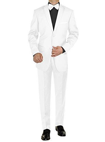 (GN GIORGIO NAPOLI Mens Tuxedo Suit Two Button Jacket Flat Front Adjustable Pants (36 Regular US / 46R EU/W 30