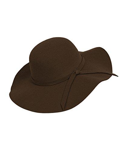 Bowknot Wide Brim Floppy Hat (Brown)