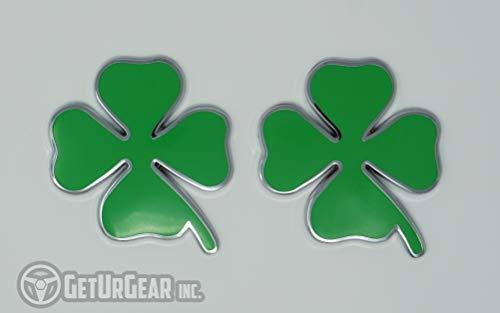GetUrGear 2x 3D 4 Leaf Clover Metal Shamrock Sticker Car Motorcycle Decal Emblem Set (35mm) -