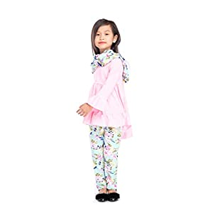Angeline Boutique Toddler Little Girls Spring Colors Easter Vintage Floral Top Leggings Scarf Set – 2019 Styles