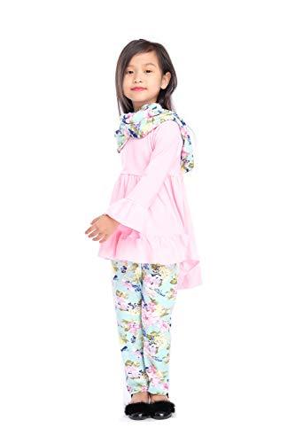 Angeline Boutique Clothing Girls Vintage Floral Hi-Low Tunic Legging Scarf Set