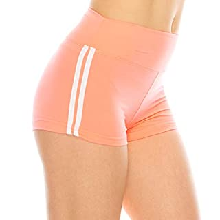 ALWAYS Women Workout Yoga Shorts - Premium Buttery Soft Stretch Cheerleader Running Dance Volleyball Short Pants with Stripes Neon Coral White L
