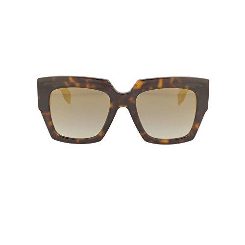 Fendi FF 0263 086 Dark Havana Plastic Sunglasses Gold Mirror - Mirror Fendi