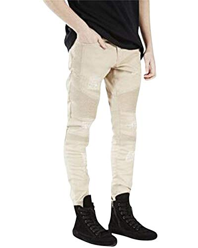 Jeans Moto Fit Alti Denim Uomo Kaki E In Elastici Skinny Slim Pantaloni Stropicciati Da Huixin Casual Piccoli Motociclista zn7BqPEx