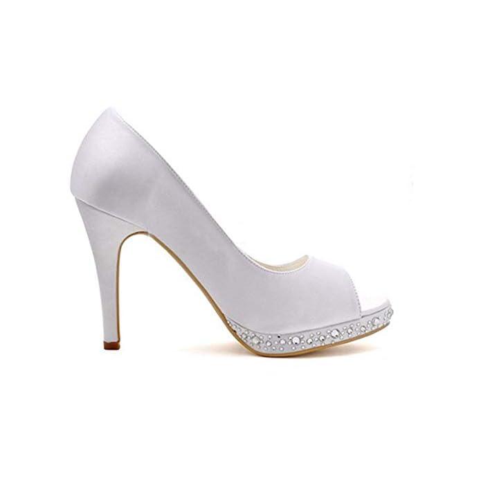 Ladies Peep Toe Cristalli Tacco A Spillo Alto Raso Bianco Da Sposa Sandali Uk 6 colore - Dimensione -