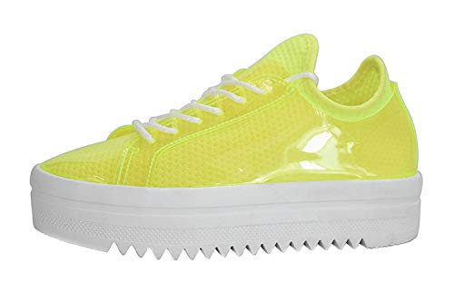 LUCKY-STEP Women's Platform Sneakers - Lace Up Casual Chunky Shoes Glassy Leather Sneaker - Sports Wear (8 B(M) US, - Platform Shoes Lime