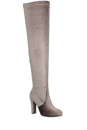 c992ff6d243 Amazon.com  Ladies fashion velvet over-the-knee boot