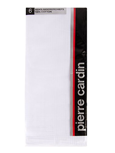 Pierre+Cardin+Handkerchief+Cotton+18%22+x+18%22+with+Satin+Cord+and+Hand+Rolled+Hems+6+Pack+%28White%29