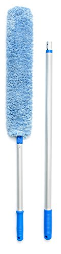 Professional Telescoping Microfiber Cleaning Duster By Praity – Sturdy Extendable Pole Aluminum High Reach Duster – Eco-Friendly & Machine Washable – Ideal For Ceilings, Ceiling Fans, TVs & Bookcases (Professional Duster)