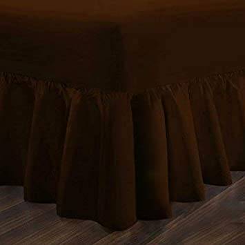 Single Double Super King Luxury Percale Frilled Valance Fitted Sheets 14 Colours in All Sizes Double, Black King