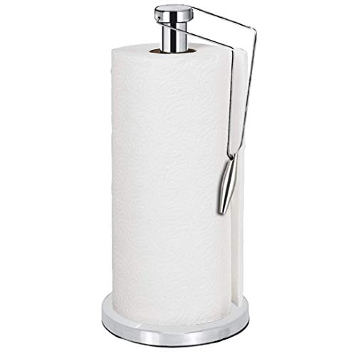 ShowNew Paper Towel Holder, One-Handed Tear Tissue Holder Paper Towel Roll Stand for Home Kitchen Countertop, Heavy Duty Stainless Steel with Non Slip Base, Fits Standard Sized Rolls by ShowNew