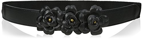 Big Buddha Women's Flower Skinny Stretch Belt, Black, Small/Medium