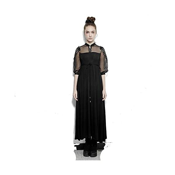 PUNK RAVE Steampunk Silk Cotton Long Dress Women Embroidery Victorian Royal Fairy Dress 3