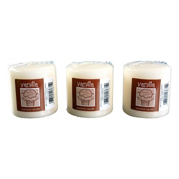 Vanilla-scented Pillar Candles, 3''