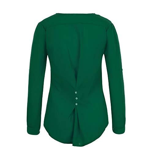Vrac et Fille Chic Shirt t en Femmes Bureau Haut Sexy Vert Tous 2018 Automne Dcontracte Les Vetements Longue Sexy Jours Slim Mode T Tops Chemise OVERMAL 1 Manches Blouse 8q4A7B8