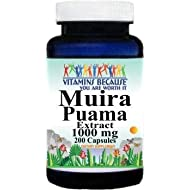 Muira Puama Extract 1000mg 200 Capsules Supplement for Men and Women Libido Support (Non-GMO, Gluten Free) by Vitamins Because
