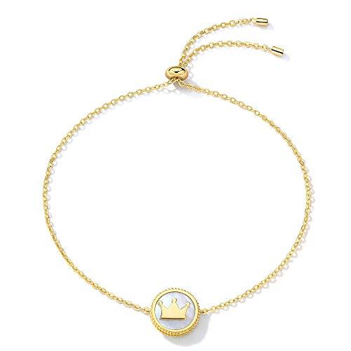 VANA JEWELRY Sterling Silver Blue Diamond Bracelets Queen Crown Bracelet Girls Heart Bangle Bracelet Women Black Butterfly Antlers Dolphin CZ Link Charm (Crown Bracelet)