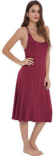 LazyCozy Womens Sleepwear Racerback Sleeveless Nightgown, Wine, Large