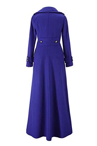 Chaqueta De Primavera Otoño Botonadura Casual Gabardina Elegantes Solapa Largos Manga Azul Abrigos Unicolor Classic Abrigo Lana Mujer Con Parka Larga Tqg5wO5S