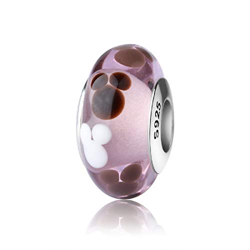 EVESCITY Real Murano & 925 Silver Handcrafted Art Colorful Glass Beads for Charm Bracelets ♥ Best Jewelry Gifts for Her Women ♥ (Purple White Mickey Mouse)