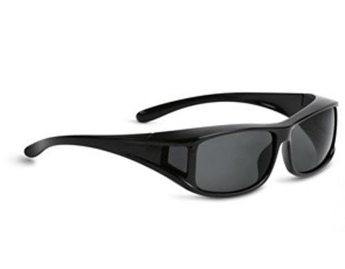 Überziehbrille mit polarisierenden Sonnenschutzgläsern - optimal für Brillenträger - Form: eckig (schwarz)