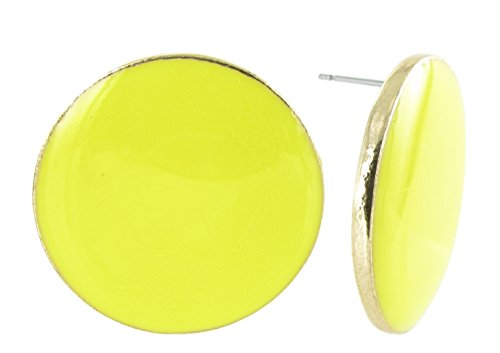 Large Round Coin Shaped Stud Earrings in Yellow Enamel and Gold (Plastic Yellow Earrings)
