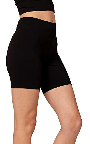 (Premium Ultra Soft Stretch High Waisted Cotton Leggings for Women with Yoga Waistband - Bike Shorts Solid - Black - Medium)