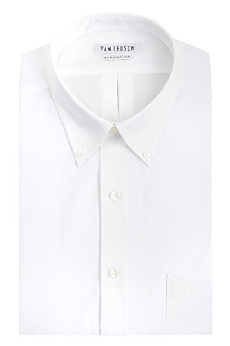 Mens Solid White Dress (Van Heusen Men's Pinpoint Regular Fit Solid Button Down Collar Dress Shirt, White, 16
