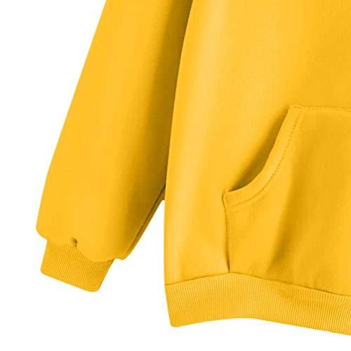 Maniche Top Maglietta Donna Ragazza Elegante Tumblr Camicetta Lunghe Pullover Stampato Felpa Manica Autunno Piume Donna Giallo Casual VICGREY Lunga a Donna Felpa Z6YnHB