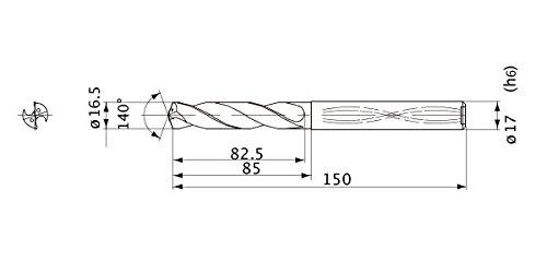17 mm Shank Dia. Mitsubishi Materials MWS1650MB MWS Series Solid Carbide Drill 3 mm Point Length 16.5 mm Cutting Dia Internal Coolant 3 mm Hole Depth