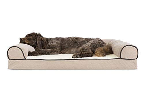 - FurHaven Pet Dog Bed | Memory Foam Faux Fleece & Chenille Sofa-Style Couch Pet Bed for Dogs & Cats, Cream, Large (Renewed)
