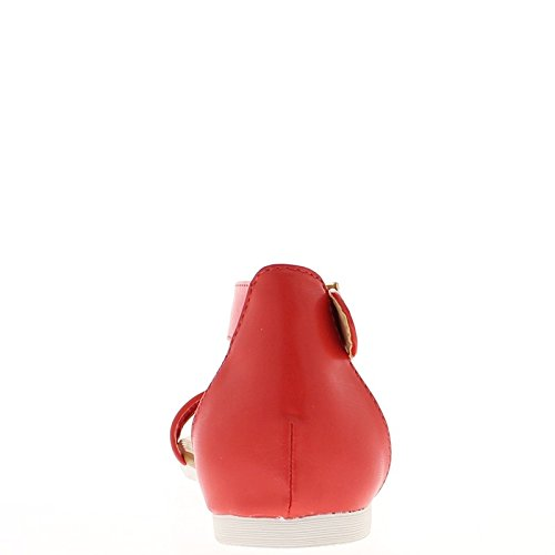 Sandalias planas rojas con bridas de ancho y cinta cordón