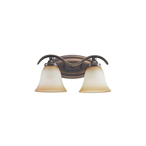 (Sea Gull Lighting 44360-829 Rialto Two-Light Vanity, Russet Bronze Finish with Ginger)