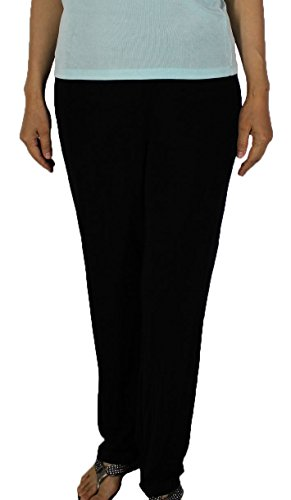 1bdbb937ac6de Calison Women s Slinky Travel Casual Plus Size Elastic Waist Long Pants  Made in USA Black 1X