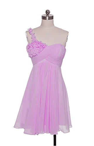 ALfany Flower One-Shoulder Prom Dress Ruffles Bridesmaids Gowns ALF065LC-US16
