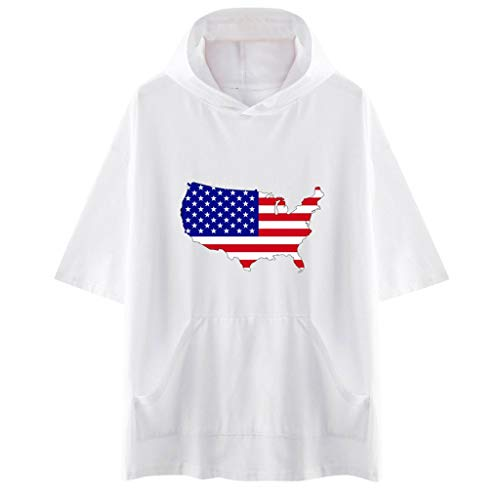 YOCheerful Unisex Tops American Independence Day Hooded Short Sleeve Print Short Sleeve Tees Casual Tops(White, XL)