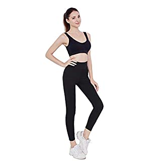DCRT High Waisted Leggings for Women – Stretch Yoga Pants with Hidden Pocket (Black, Medium)