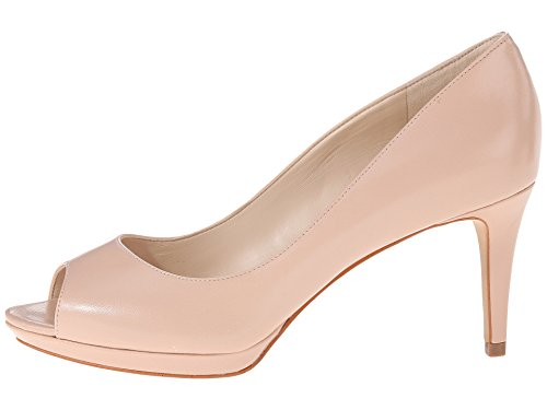 (Nine West Womens Gelabelle Leather Peep Toe Classic Pumps, Natural, Size 7.0)