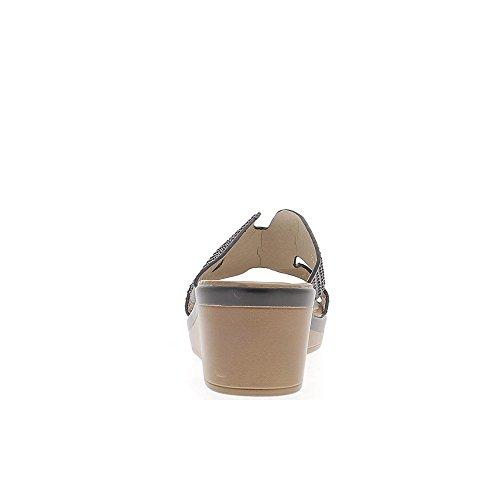 Mules compensées noires à talon de 6cm et plateau de 2cm strass et aspet satin