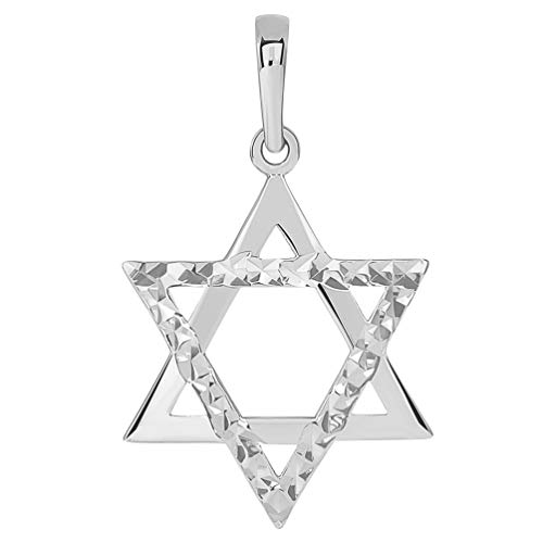 14k White Gold High Polished and Sparkle Cut Hebrew Star of David Pendant (25 x 17.5mm)