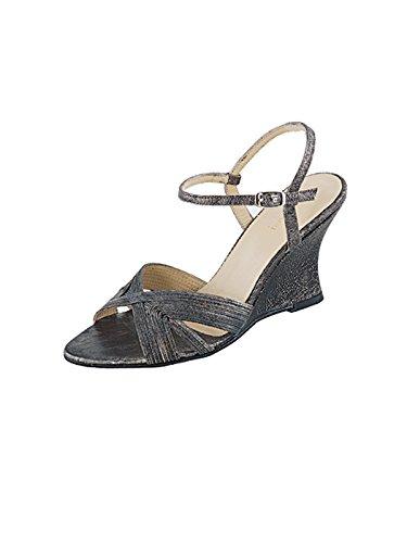 Marion Spath Damen 17-02-16 Glattleder Elegante Keil-Sandalette Antik-Schwarz