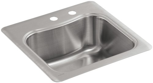 KOHLER K-3363-2-NA Staccato Single-Basin Self-Rimming Entertainment Sink, Stainless Steel