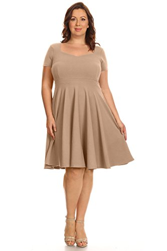Womens Plus Size Cocktail Party Wedding Fit & Flare Dresses - Made in USA (Size 1X, Mocha Sweetheart)