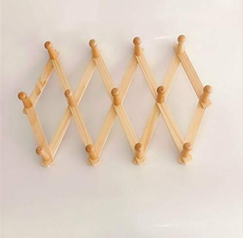 (Mydio Expandable Wall Shelf Accordion Style for Hats Caps Umbrella Storage Home Organization Wooden Peg Rack Wall Mounted Coat Rack)