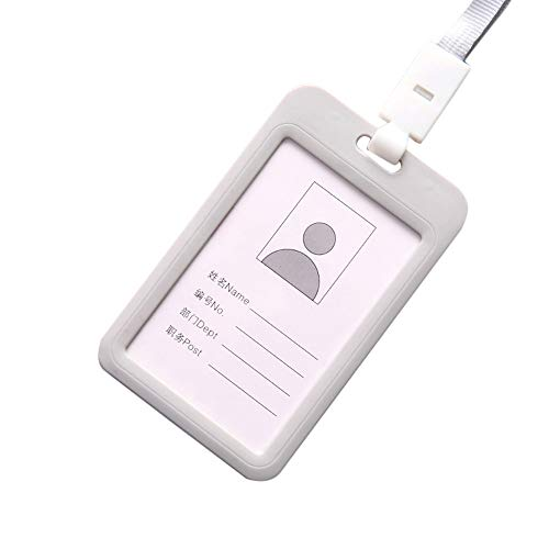 Halloween Clearance, Portable Colorful Employee Plastic ID Card Holder Name Tag Lanyard Neck Strap (Grey) -