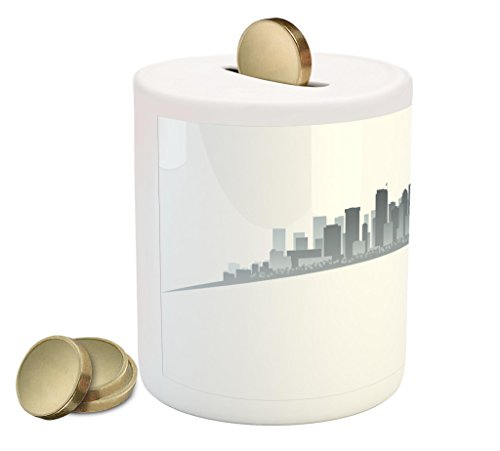 Lunarable Seattle Piggy Bank, Silhouette of Washington City Tourist Attraction Space Needle in The Middle, Printed Ceramic Coin Bank Money Box for Cash Saving, Grey and Pale Grey
